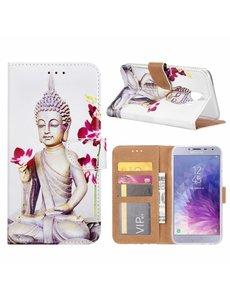 Merkloos Samsung Galaxy J4 (2018) Boeddha Bloem Design Booktype Kunstleer Hoesje Met Pasjesruimte