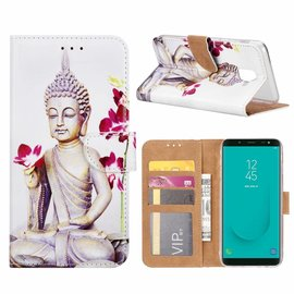 Merkloos Samsung Galaxy J6 (2018) Boeddha Bloem Design Booktype Kunstleer Hoesje Met Pasjesruimte