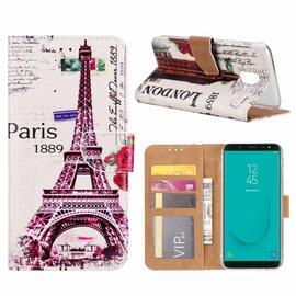 Merkloos Samsung Galaxy J6 (2018) Eiffeltoren (1889) Design Booktype Kunstleer Hoesje Met Pasjesruimte
