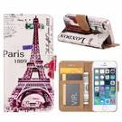 Ntech Ntech iPhone 5 / 5S / SE Eiffeltoren (1889) Design Booktype Kunstleer Hoesje Met Pasjesruimte
