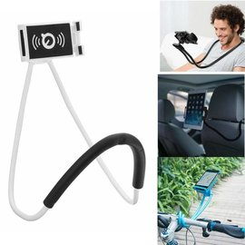 Merkloos Telefoon houder & Standaard 360°Draaibaar voor Nek / Auto / Fiets Universeel 4 - 8 inch Wit