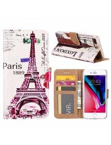 Merkloos iPhone 8+(Plus) / 7+(Plus) Eiffeltoren (1889) Design Booktype Kunstleer Hoesje & Pasjesruimte
