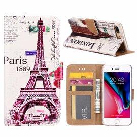 Ntech Ntech iPhone 8+(Plus) / 7+(Plus) Eiffeltoren (1889) Design Booktype Kunstleer Hoesje & Pasjesruimte