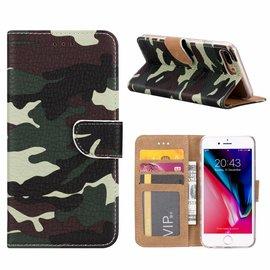 Merkloos iPhone 8+ (Plus) / 7+ (Plus) Camouflage Design Booktype Kunstleer Hoesje Met Pasjesruimte