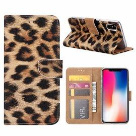 Ntech Ntech iPhone X / Xs Luipaard Design Booktype Kunstleer Hoesje Met Pasjesruimte