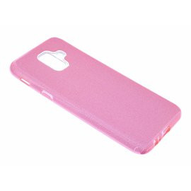 Merkloos Samsung Galaxy A6 (2018) Roze Glitter TPU Back Cover Hoesje