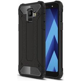 Merkloos Samsung Galaxy A6+ Plus (2018) Anti Shock Dual Layer Hybrid Armor hoesje zwart