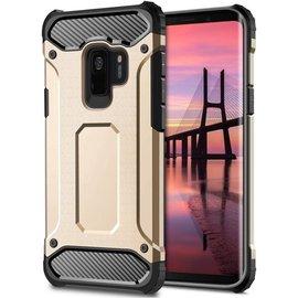 Merkloos Samsung Galaxy A6+ Plus (2018) Anti Shock Dual Layer Hybrid Armor hoesje goud