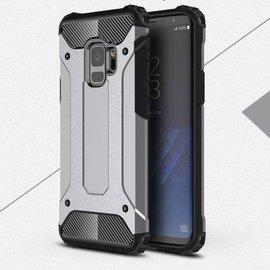 Merkloos Samsung Galaxy A6 (2018) Anti Shock Dual Layer Hybrid Armor hoesje zilver