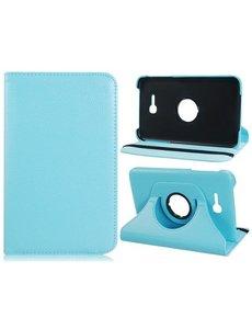 Merkloos Samsung Galaxy Tab 3 7.0 Lite T110 draaibare case cover hoesje Licht Blauw