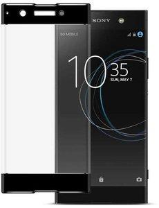 Merkloos Sony Xperia XA2 Ultra Scratch-Proof Full cover Screenprotector / Tempered Glass Zwart