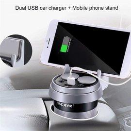 Ntech Ntech 2.1A /1A Dual USB autolader met Universele telefoonhouder met 2 sigaret socket & Antislip pad