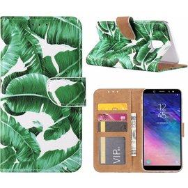 Merkloos Samsung Galaxy A6+ Plus (2018) Blaadjes Design Booktype Kunstleer Hoesje Met Pasjesruimte