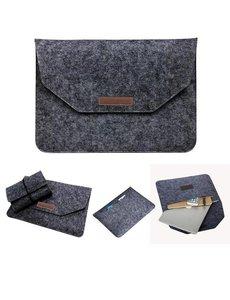 Merkloos Macbook 11-13 inch laptop Flip Case van Wolvilt - Universeel laptoptas Zwart