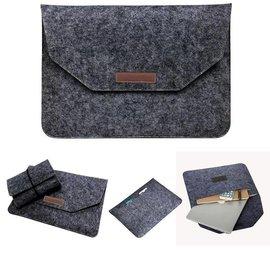 Ntech Ntech Macbook 11-13 inch laptop Flip Case van Wolvilt  - Universeel laptoptas Zwart