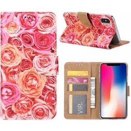 Ntech Ntech iPhone X / Xs Roos Design Booktype Kunstleer Hoesje Met Pasjesruimte