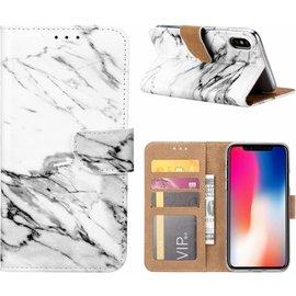Ntech Ntech iPhone X / Xs  Marmer Design Booktype Kunstleer Hoesje Met Pasjesruimte