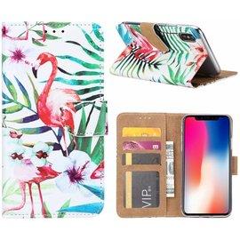 Merkloos iPhone X / Xs  Tropische Flamingo Design Booktype Kunstleer Hoesje Met Pasjesruimte