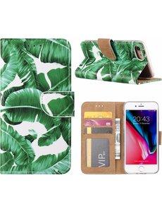 Merkloos iPhone 8+ (Plus) / 7+ (Plus) Blaadjes Design Booktype Kunstleer Hoesje Met Pasjesruimte