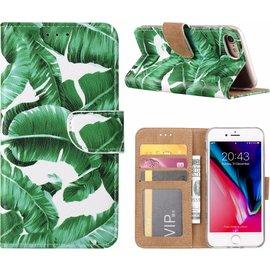 Ntech Ntech iPhone 8+ (Plus) / 7+ (Plus) Blaadjes Design Booktype Kunstleer Hoesje Met Pasjesruimte
