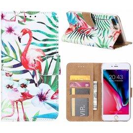 Ntech Ntech iPhone 8+ (Plus) / 7+ (Plus) Tropische Flamingo Design Booktype Kunstleer Hoesje Met Pasjesruimte