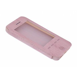 OU case OU Case Rose Goud Wood look Window Cover Hoesje voor iPhone  5 / 5S / SE