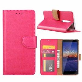 Merkloos Nokia 3.1 Booktype Kunstleer Hoesje Met Pasjesruimte Roze