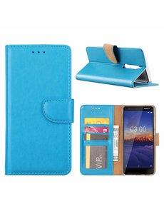 Merkloos Nokia 3.1 Booktype Kunstleer Hoesje Met Pasjesruimte Blauw