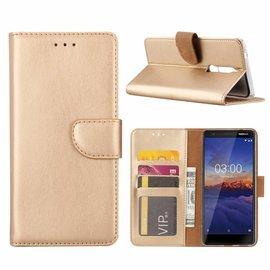 Merkloos Nokia 3.1 Booktype Kunstleer Hoesje Met Pasjesruimte Goud