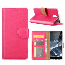 Merkloos Nokia 5.1 Booktype Kunstleer Hoesje Met Pasjesruimte Roze