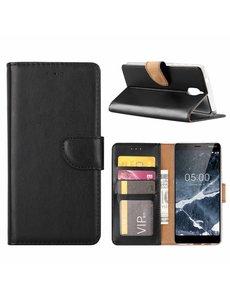 Merkloos Nokia 5.1 Booktype Kunstleer Hoesje Met Pasjesruimte Zwart