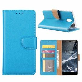 Merkloos Nokia 5.1 Booktype Kunstleer Hoesje Met Pasjesruimte Blauw