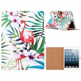 Merkloos iPad 9.7 inch (2018) / (2017) Tropische Flamingo Design Booktype Kunstleer Hoesje Met Pasjesruimte