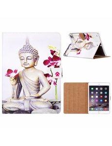 Merkloos iPad Air Boeddha & Bloem Design Booktype Kunstleer Hoesje Met Pasjesruimte