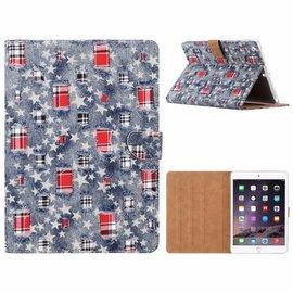 Ntech Ntech iPad Air Ster & Denim Design Booktype Kunstleer Hoesje Met Pasjesruimte