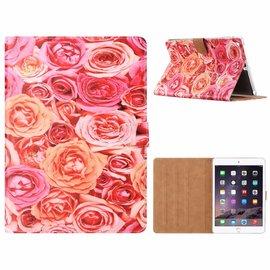 Ntech Ntech iPad Air Roos Design Booktype Kunstleer Hoesje Met Pasjesruimte