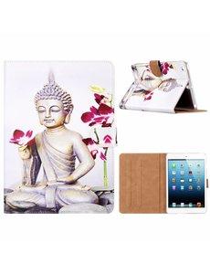 Merkloos iPad mini 1 / 2 / 3 Boeddha & Bloem Design Booktype Kunstleer Hoesje Met Pasjesruimte