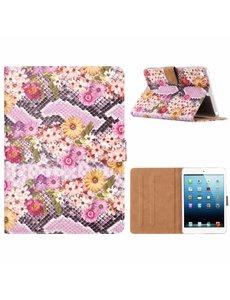 Merkloos iPad mini 1 / 2 / 3 Margrietjes Design Booktype Kunstleer Hoesje Met Pasjesruimte