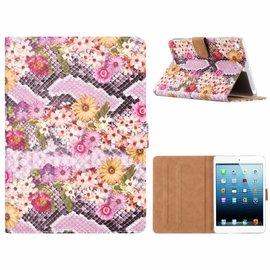 Ntech Ntech iPad mini 1 / 2 / 3 Margrietjes Design Booktype Kunstleer Hoesje Met Pasjesruimte