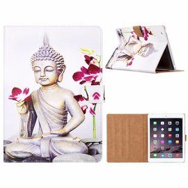 Merkloos iPad 2 / 3 / 4 Boeddha & Bloem Design Booktype Kunstleer Hoesje Met Pasjesruimte