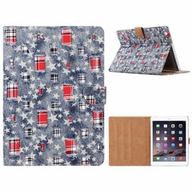 Merkloos iPad 2 / 3 / 4 Ster & Denim Design Booktype Kunstleer Hoesje Met Pasjesruimte