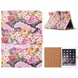 Merkloos iPad 2 / 3 / 4 Margrietjes Design Booktype Kunstleer Hoesje Met Pasjesruimte