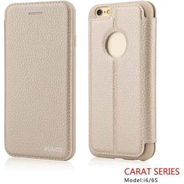 Carat Carat series full cover wallet case hoesje voor iPhone 6 / 6S 4,7 booktype cover Champagne Goud