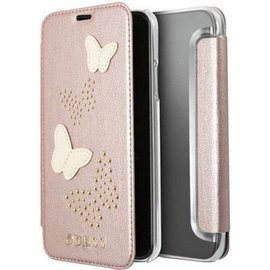 "Guess Guess Studs & Sparkle BookCase Apple iPhone X / Xs (5.8"") - Ros� Goud"