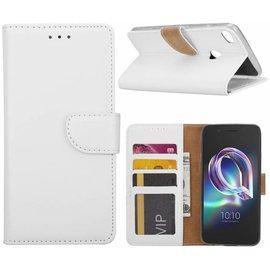 Merkloos Alcatel A7 Portemonnee hoesje / book case Wit