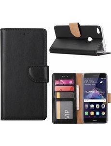 Merkloos Huawei P8 Lite (2017) Portemonnee case cover hoesje Zwart