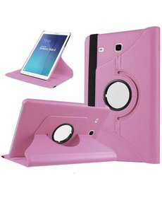 Merkloos Licht Roze Samsung Galaxy Tab E 9,6 inch Tablet Case hoesje met 360? draaistand cover hoes