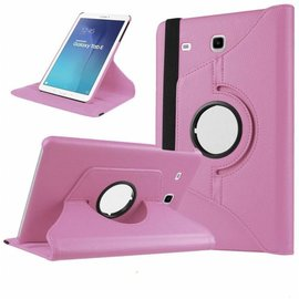 Merkloos Licht Roze  Galaxy  Tab E 9,6 inch Tablet Case hoesje met 360ᄚ draaistand cover hoes
