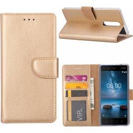 Merkloos Nokia 6 Portemonnee hoesje / book case Champange Goud