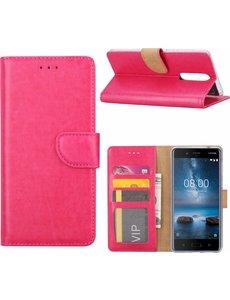 Merkloos Nokia 6 Portemonnee hoesje / book case Pink